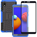 Samsung Galaxy A01 Core Case with Screen Protector, Yiakeng Shockproof Silicone Protective with Kickstand Hard Phone Cover fo