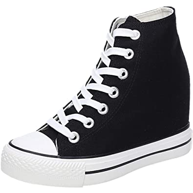 New Womens Hi Top Sneakers Hidden Wedges Heel Trainers Ankle Booties Skate Shoes