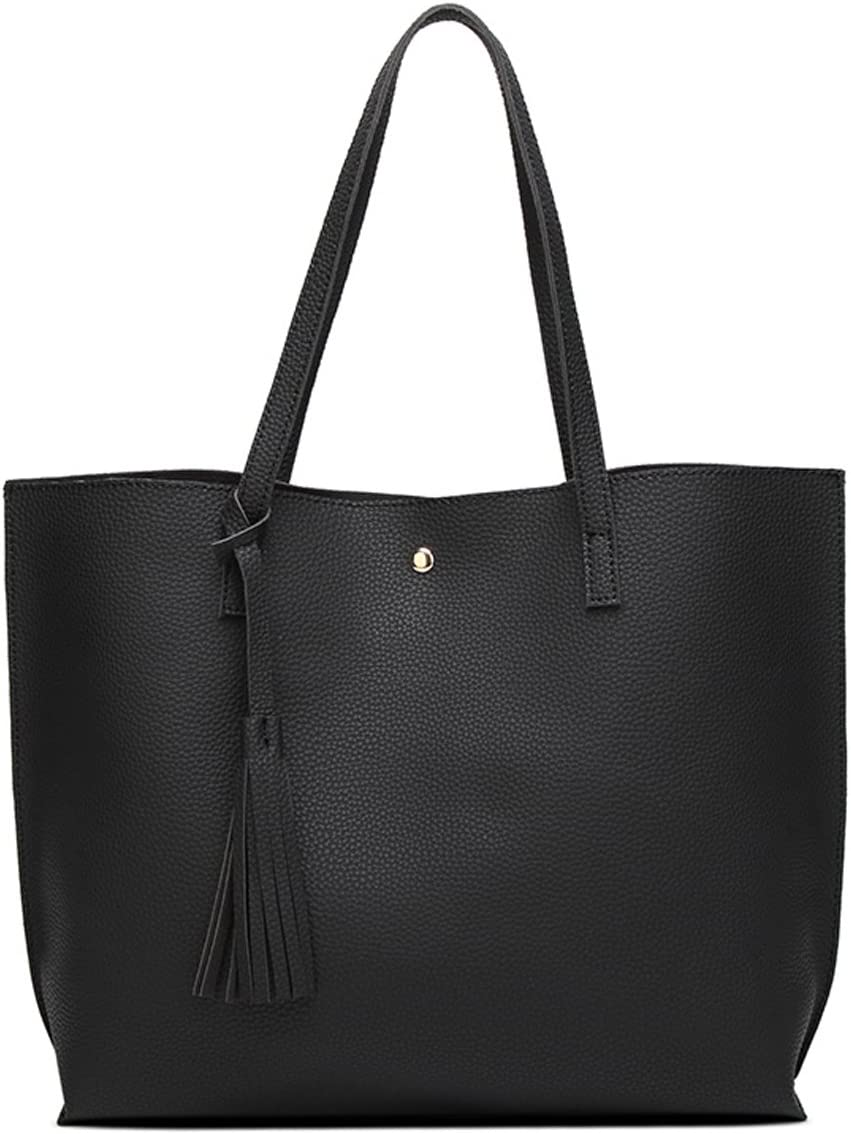 Women's Soft Faux Leather Tote Shoulder Bag from Dreubea, Big Capacity Tassel Handbag Black Size: M