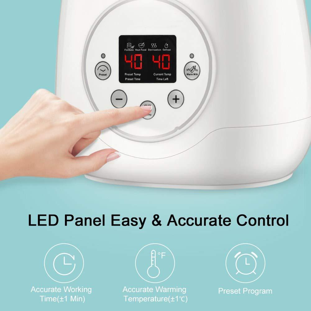 Dise/ño de Botellas Dobles 5 en 1 El/éctrico Digital Termostato Inteligente Calentador con Pantalla LED Calienta Biberones Esterilizador Biberon Calentador de Alimentos para beb/é