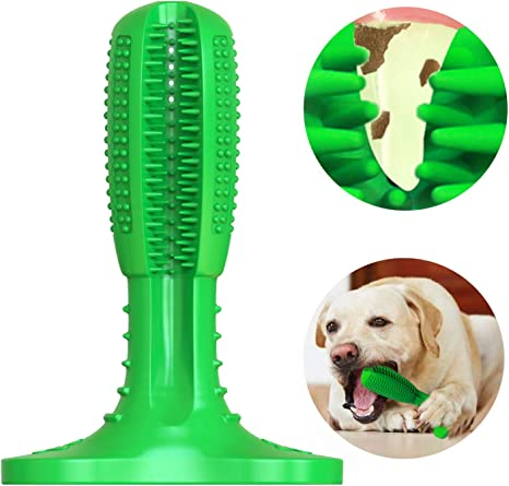 Wisedom Dog Toothbrush Stick Puppy Dental Care Brushing Stick Effective Doggy Teeth Cleaning Massager Nontoxic Natural Rubber Bite Resistant Chew Toys