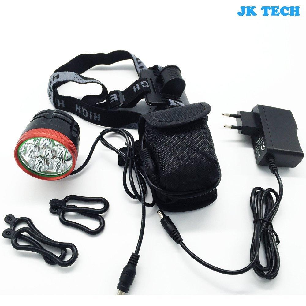 jkcs Wasserdicht 6x Cree XML T6LED Fahrrad Licht Scheinwerfer 10000Lumen Super Bright Fahrrad Scheinwerfer LED-Lichter mit 8.4V wiederaufladbarer Li-Ion-Akku Pack und UK Ladegerät für Radfahren, Reisen, Angeln, Camping, etc.