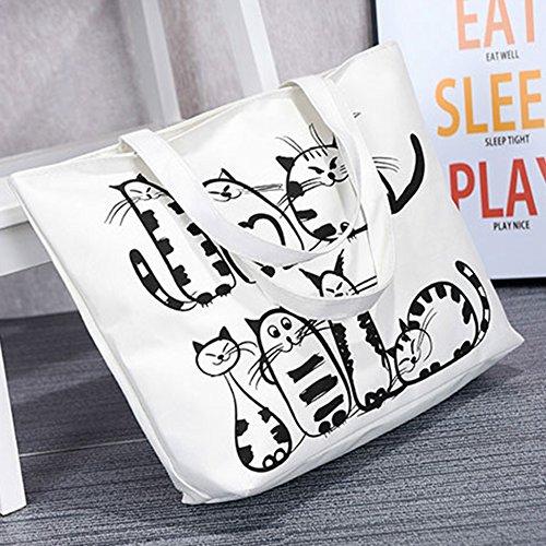 tracolla Tote a Animal borsa Cat di Student della moda della zipper donna lovely nbsp; tela Feidaj 6qOdwxS6