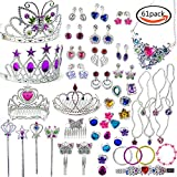SERONLINE 61pcs Princess Pretend Jewelry Toy Jewelry Dress Up Play Set