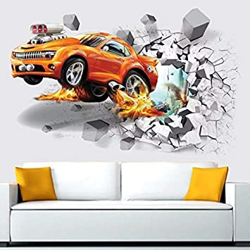Buy Wallgenics 3d Orange Car Wallpaper Wall Poster Wallpaper Wall Sticker Home Decor Stickers For Living Room Hall Kids Room Play Room Online At Low Prices In India Amazon In