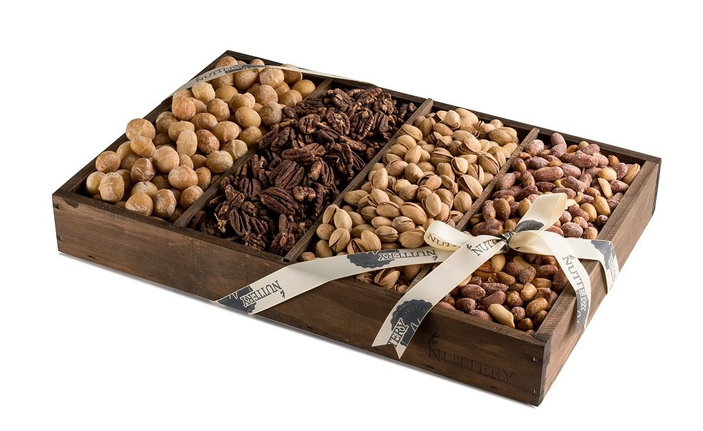 Premium Roasted and Salted Fresh Healthy Nuts Snacks Displayed in a Medium Size 4 Compartment Gift Tray
