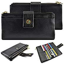"""caseen 'Lia' Genuine Leather Smart Phone Evening Clutch Purse Wallet Case (Black) for Apple iPhone 6 5S 5C 5 4S 4, Samsung Galaxy S7 Edge / S7 / S6 / S6 Edge / S6 Edge+ / Note 5 / Note 4 / Edge / 3 / 2 / II, Google Nexus 5, LG G2, HTC One M7, Sony Xperia Z3 Compact / Z, Moto X, Moto G, Droid Razr [Fits Most Smartphones Up To 5.75"""" x 3.1"""" Inch]"""