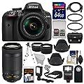 Nikon D3400 Digital SLR Camera & 18-55mm VR & 70-300mm DX AF-P Lenses with 64GB Card + Case + Flash + LED Video Light + Tripod + Tele/Wide Lens Kit by Nikon