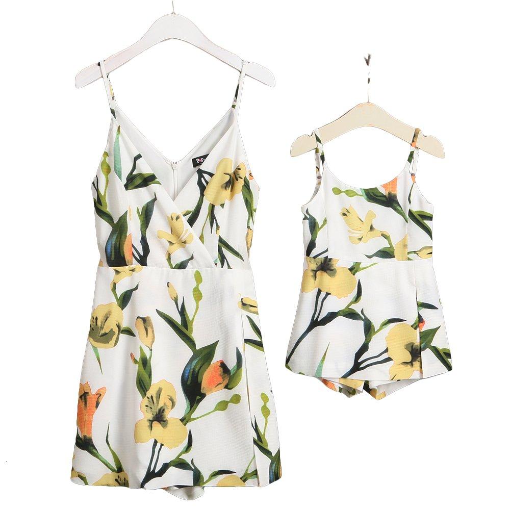 PopReal V-Neck Floral Print Halter Sleeveless Backless Short Pants Jumpsuit Romper Matching Outfits