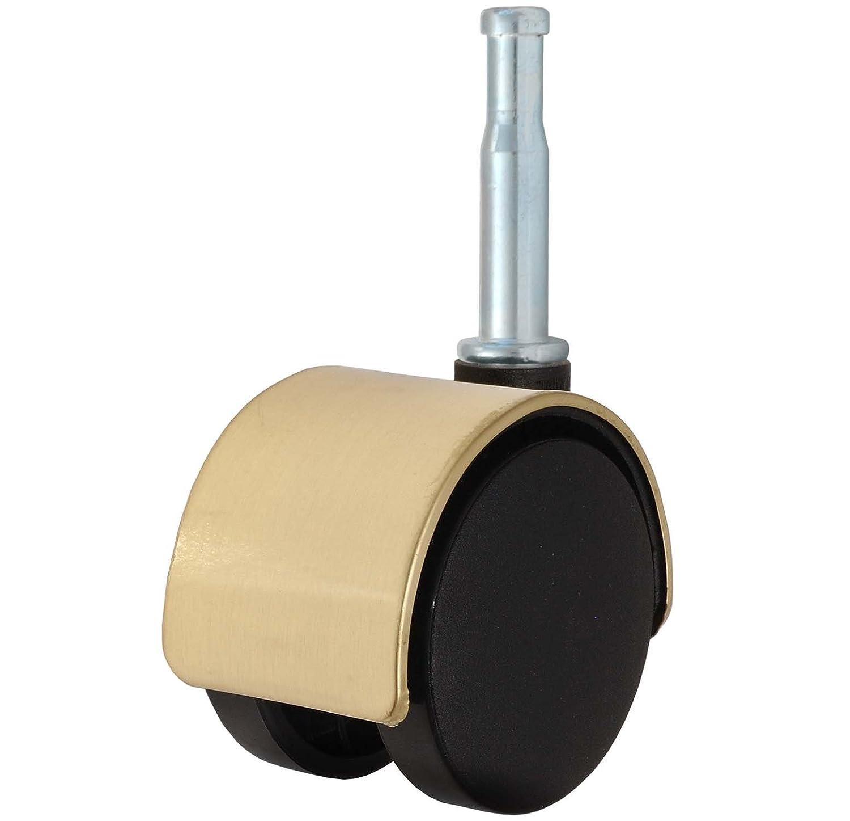 Twin Wheel Caster Solutions TWHN-50N-G02-TN-B 2 Diameter Nylon Wheel Hooded Brake Caster 110 lb Capacity Range 5//16 x 1-1//2 Grip Neck Stem