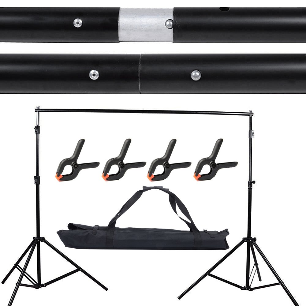 Hakutatz Photo Video Studio 10Ft/2x3M Adjustable Background Stand Backdrop Support System Kit with Carrying Bag and 4 Background Clamps Photo Photography Video Studio Backdrop Crossbar Kit by Hakutatz