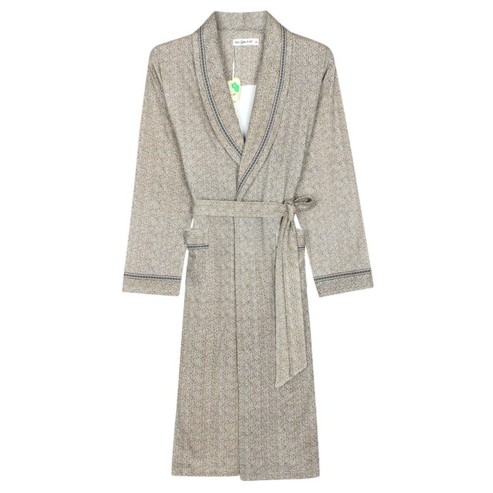Men Cotton Nightgown long sleeve pajamas/housecoat/ men's robe bathrobe JERQVXJHEFG