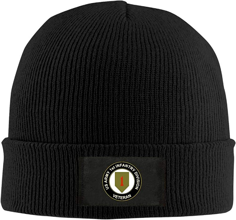 FORDSAN CP US Army Veteran 1st Infantry Division Mens Beanie Cap Skull Cap Winter Warm Knitting Hats