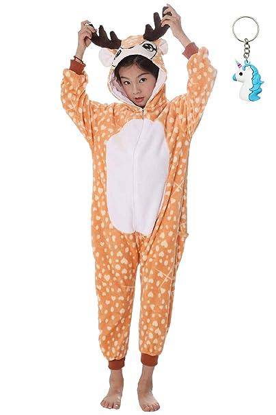 Landove Pijama Unicornio Niña Niño Mono Franela Kigurumi Animales Entero Unisex Sleepsuit Romper Homewear Onesie Cosplay Traje de Disfraz para ...