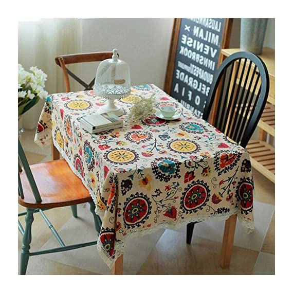 HOOYE Tablecloth Bohemian Style Rectangle Linen Lace Table Cloth for Dinner Parties Table Cover (55X87 inch, Bohemian Style) - One-Piece Seamless Design, Folded over hemmed edges for an elegant looking table clothes rectangle Machine wash cold delicate, hand wash best; lay flat to dry This HOOYE bohemian tablecloth features a unique pattern and colorful printing ,offers an exotic blend of modern luxury and isolated serenity - tablecloths, kitchen-dining-room-table-linens, kitchen-dining-room - 61QqTfbiwbL. SS570  -