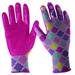 Digz youth stretch garden gloves with nitrile coating are latex-free and fit for a kid's hand. These gloves have nitrile synthetic rubber, knit wrists and are designed to fit a kid's hand.