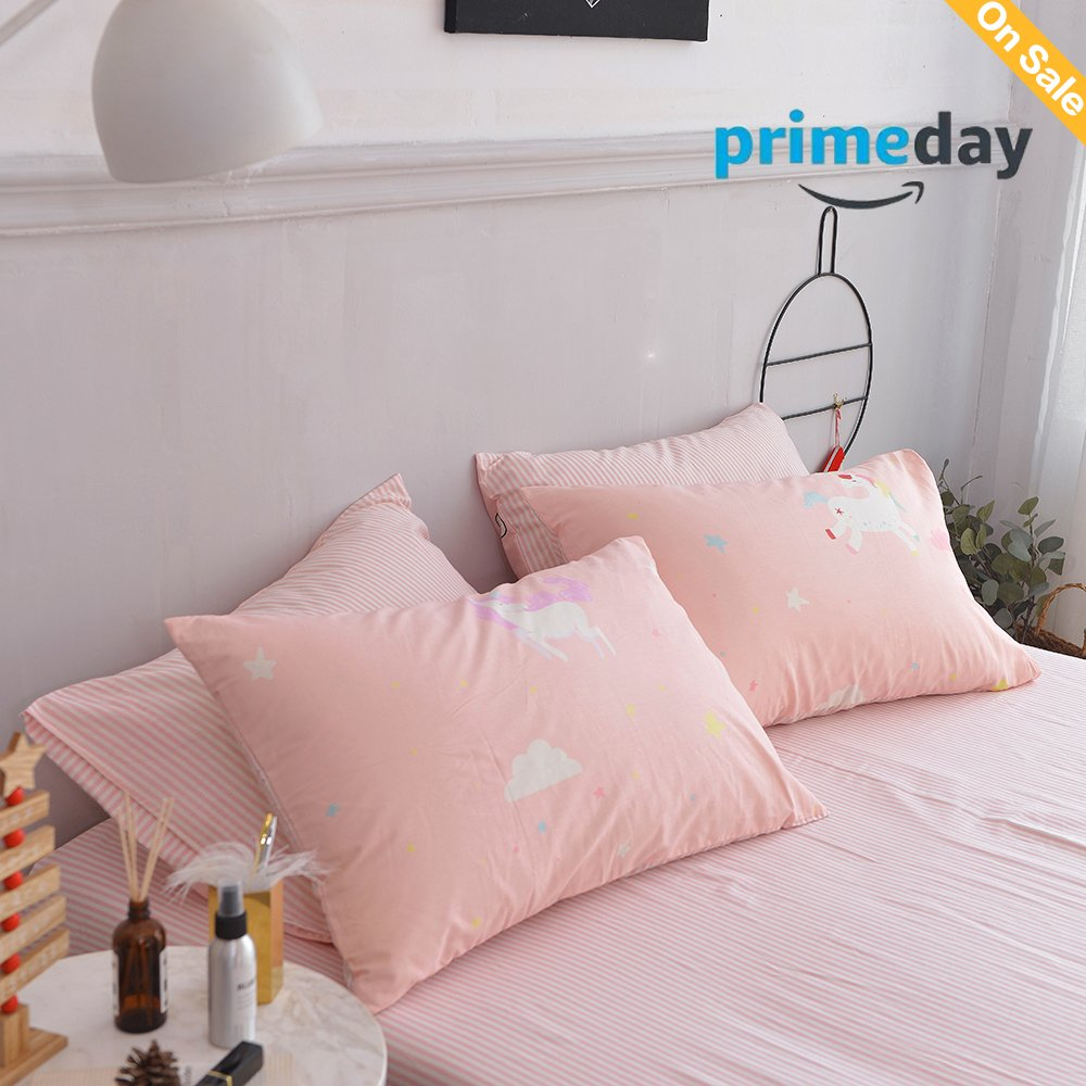 Pink Bed Horse Pillowcases of 2 Queen Twin,100% Cotton Home Bedding Decoration Pillowcases Cover for Girls,Female,Lady 2 Pieces,20''x 26'' Pink