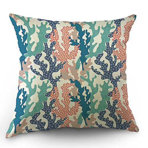 Moslion Coral Pillows Decorative Throw Pillow Cover Ocean Colorful Corals Reef Pillow Case 18 x 18 Inch Cotton Linen Square Cushion Cover Sofa Bed Pink Blue Green Purple