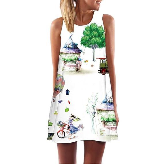 JYC Encaje Elegante Casual Vestido, Verano Suelto Vestido, Vestido Fiesta Mujer Largo Boda, Mujer Dama Verano Casual Maxi Impresión Fiesta Noche Mini ...