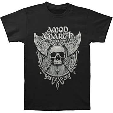 Amon Amarth Men's Grey Skull T-shirt Small Black