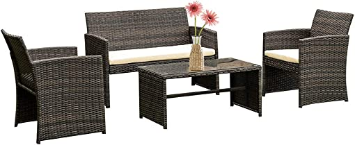FDW 4 Pieces Outdoor Patio Furniture Sets Rattan Chair Patio Set Wicker Conversation Set Poolside Lawn Chairs Porch Poolside Balcony Outdoor Garden Furniture,Brown