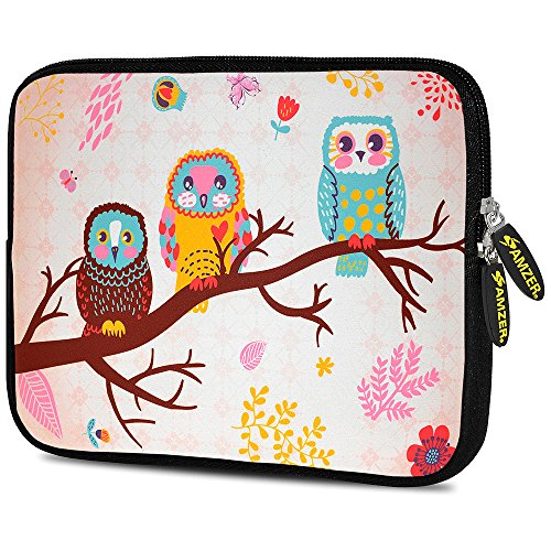 Amzer 7.0 - 7.75 Inches Designer Neoprene Sleeve Case for iPadTablete-Reader and Notebooks Owls on Branch (AMZ5223077)