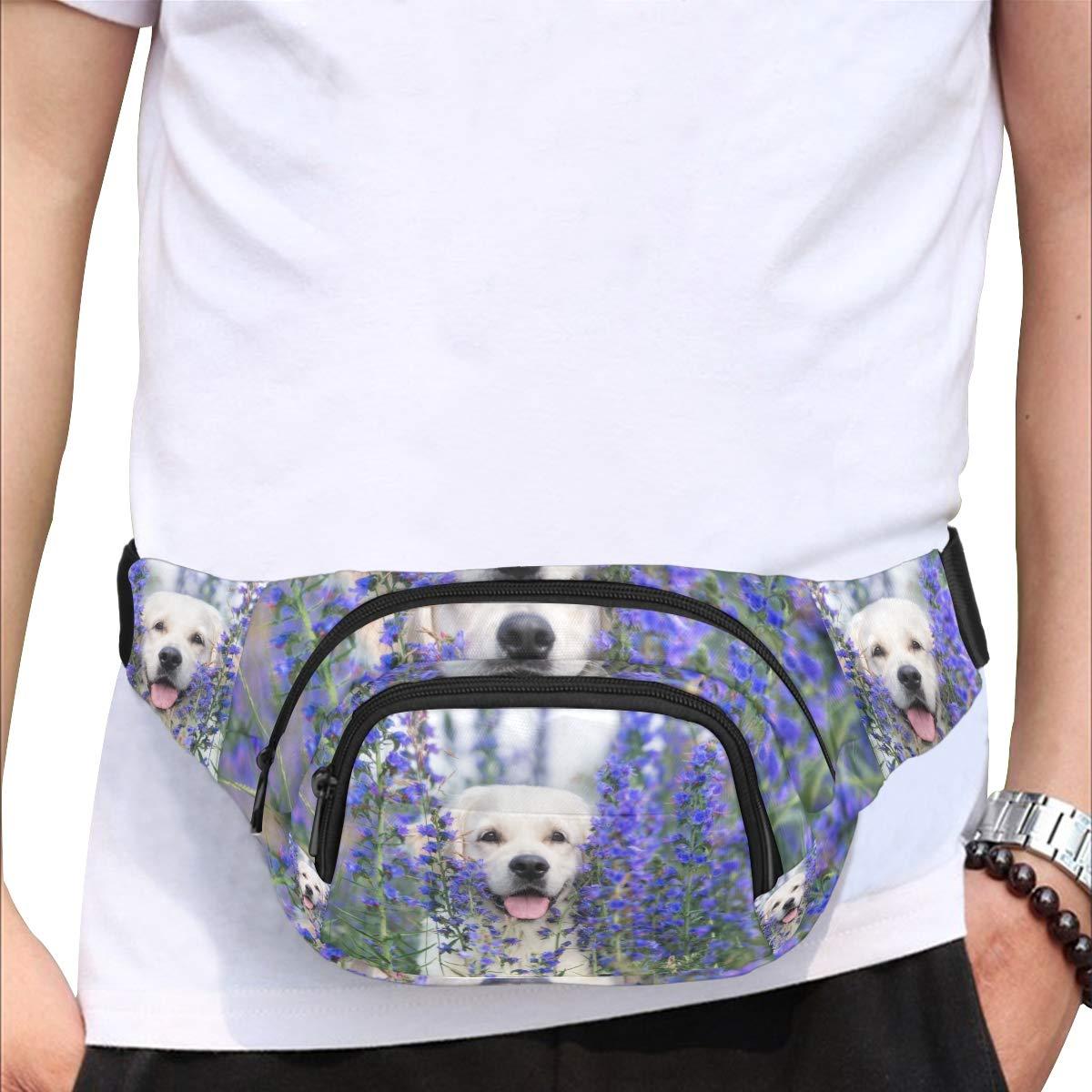 Dog In The Beautiful Flower Fields Fenny Packs Waist Bags Adjustable Belt Waterproof Nylon Travel Running Sport Vacation Party For Men Women Boys Girls Kids