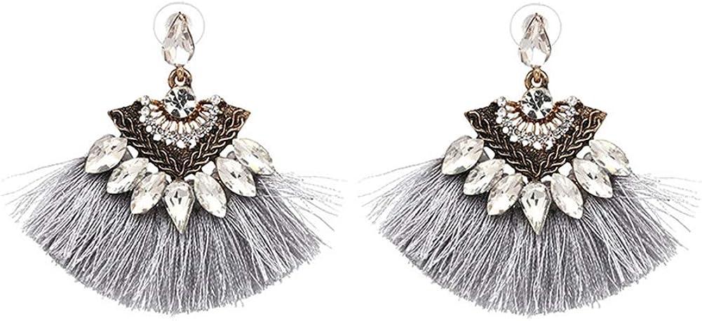 GUUTUUG Bohemian Fan Tassel Stud Earrings Vintage Boho Cuelga la Pendiente de la Declaración Moda Fringe Joyería para Mujeres Niñas