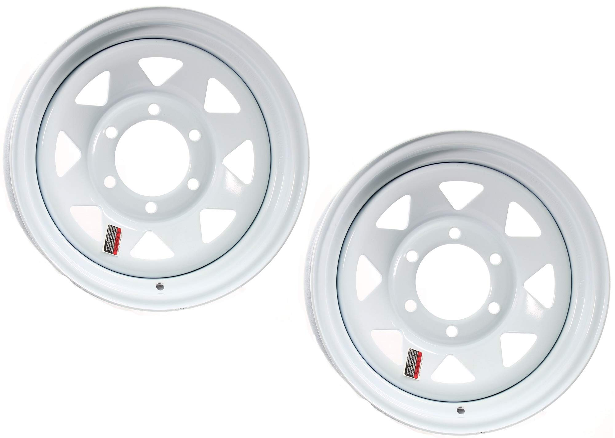 eCustomRim 2-Pack Trailer Wheel White Rims 16 x 6 Spoke Style 6 Lug On 5.5 in. Center
