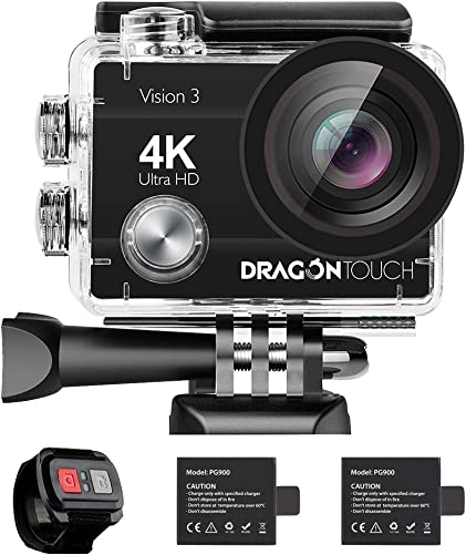 Dragon Touch 4K Action Camera 16MP Vision 3 Underwater Waterproof Camera 170 Wide Angle WiFi Sports Cam with Remote 2 Batteries and Mounting Accessories Kit