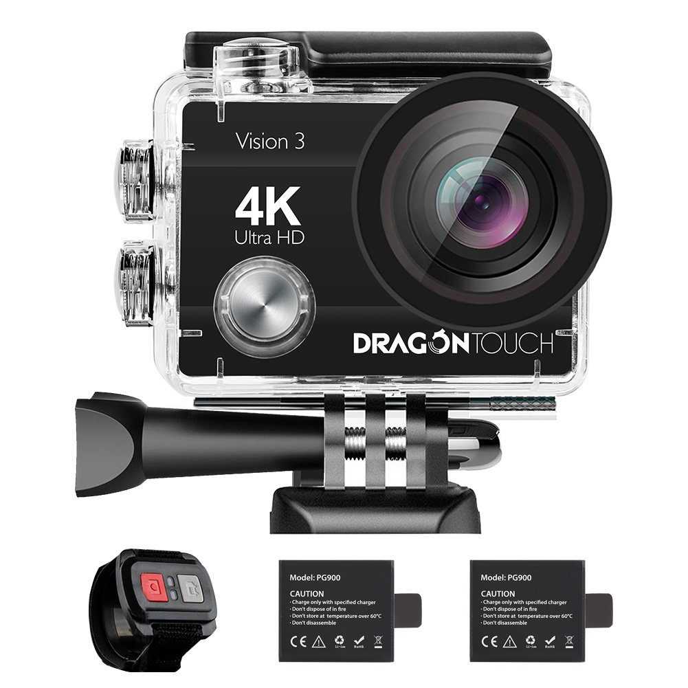 Dragon Touch 4K Action Camera 16MP Vision 3 Underwater Waterproof Camera 170° Wide Angle WiFi Sports Cam with Remote 2 Batteries and Mounting Accessories Kit by Dragon Touch