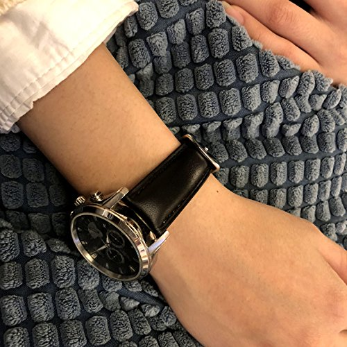 Quick Release Watch Band 18mm, Leather Black Replacement Watch Strap Genuine Polished Watch Clasp Buckle Padded Super Soft (18mm 20mm 22mm) by TStrap (Image #6)