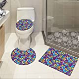 jwchijimwyc Hawaii Widen Abstract Colorful Foliage Pattern The Aloha State Design Tropical Tiki Elements 3 Piece Extended bath mat set Multicolor