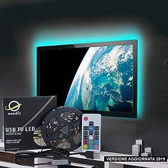 Needit - Retroiluminación LED para TV, tira LED RGB de 2 m, alimentada por USB, cinta LED