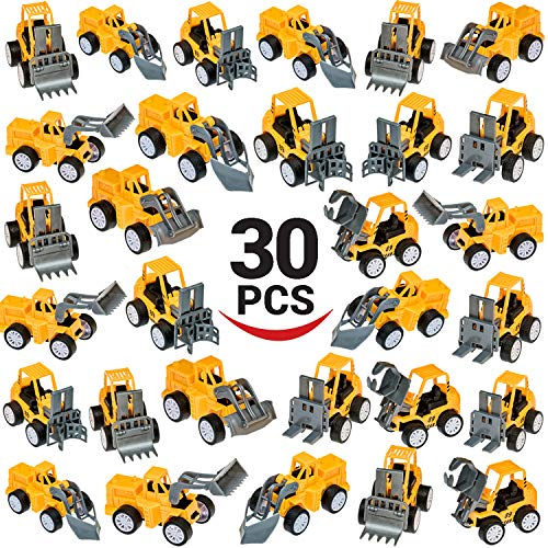 (Deals with Service Pull Back Construction Vehicles Toy Set, 30 Trucks! Great Assortment - Cars and T rucks - Toys for Kids Birthday Party Favors - Car, Vehicle, Truck for Boys Toddlers)