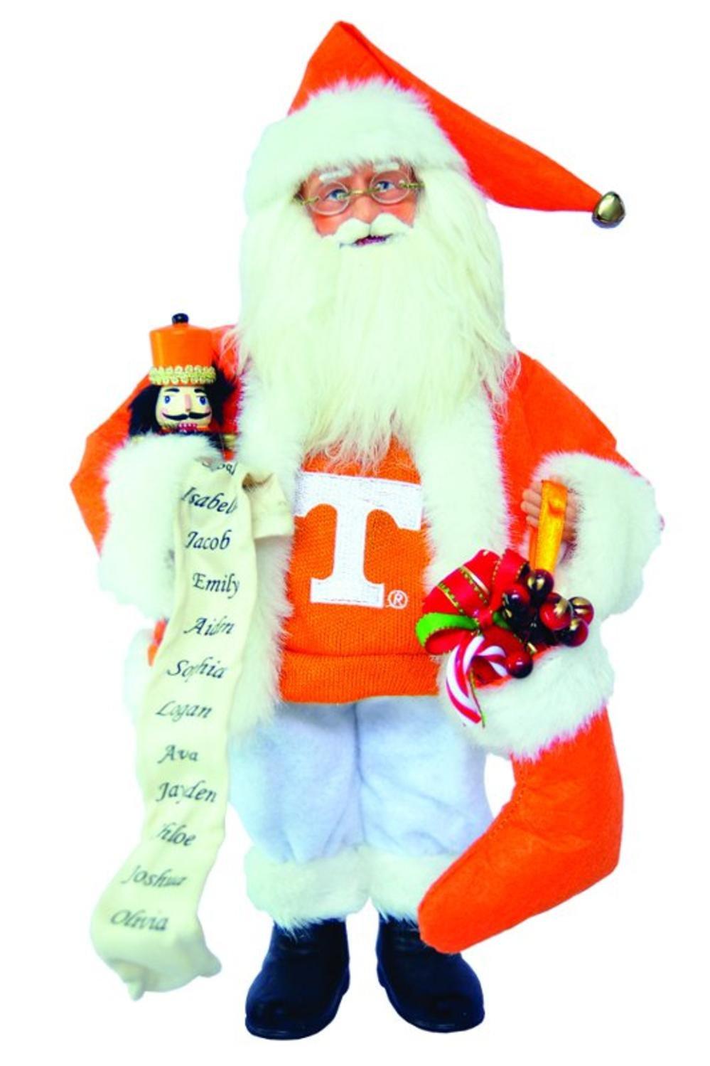 15'' NCAA Tennessee Vols Santa Claus Christmas Figure with Nutcracker & Stocking