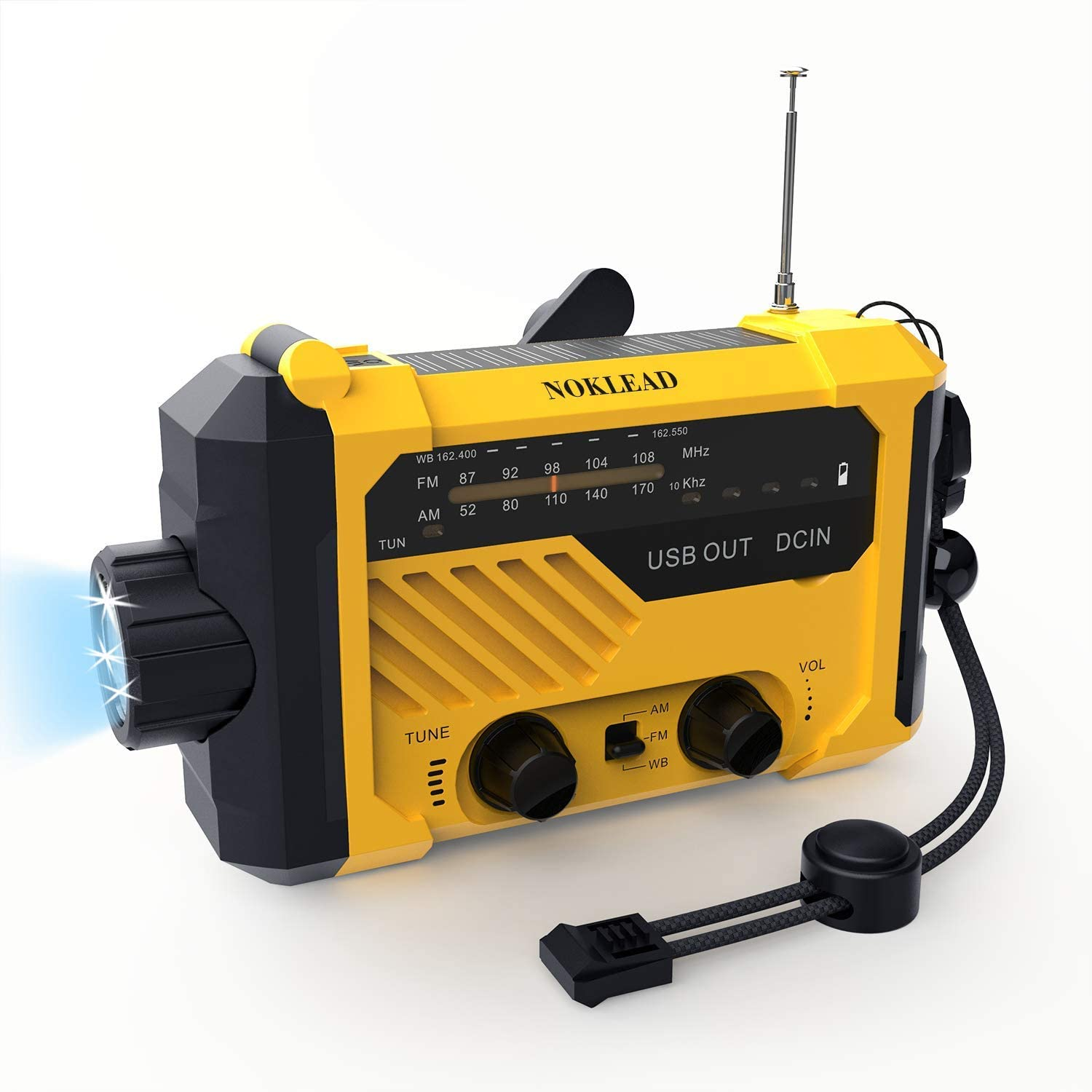 NOKLEAD Portable Emergency Weather Radio – Hand Crank Solar AM/FM/WB NOAA Radio with Flashlight Read Light USB Charger SOS Alert, 2000mAh Power Bank for Cell Phone, AAA Battery Operated (Yellow)