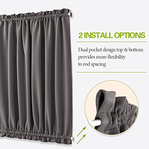 PONY DANCE Door Curtains Blackout – Side Light Door Window Curtains for Privacy Thermal Insulated Panels with 2 Bonus Tiebacks, W 25 in x L 72 in, Grey, 2 PCs