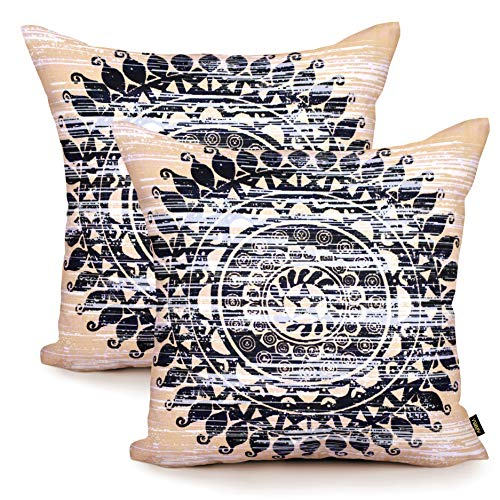 Arriba, 18x18 Inches | 45x45 Cms, Pack/Set of 2 Pcs, Mandala Chakra Printed Standard Size African Accent Decorative Pure Cotton Throw Pillow Cases | Cushions Covers for Home Sofa Bedding.(Beige-Black)