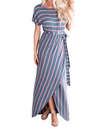 64d4c7ad3e3 Mafulus Womens Short Sleeve Summer Long Maxi Dresses Scoop Neck Striped  Front Slit Tie Waist Dress at Amazon Women's Clothing store: