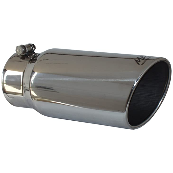 """Out 4/"""" Single Angled Tip Polish Stainless Steel Oval Muffler Volt 2.25/"""" Inlet"""