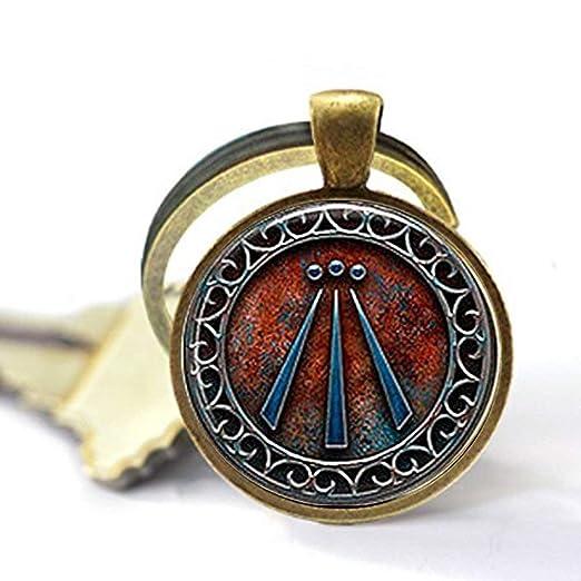 Llavero con símbolo de Awen, chapado en plata, con cadena o ...
