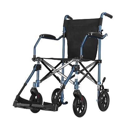 GYH Silla de Ruedas, Aleación de Aluminio Ancianos Discapacitados Manual Silla de Ruedas Pequeña Luz