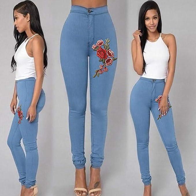 STRIR Cintura Alta Pantalones Jeans Mujer Elástico Flacos Vaqueros Leggings con Bordado de Floral Push up Mezclilla Pantalones: Amazon.es: Ropa y accesorios