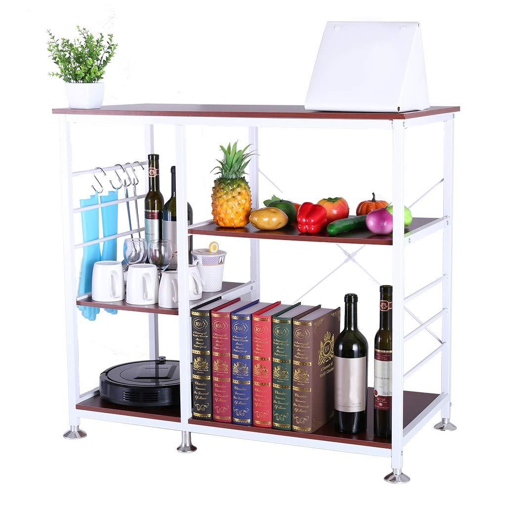 YiwsKbo Kitchen Rack,3-Tier Utility Storage Shelf Microwave Oven Stand Metal Frame, Multifunctional,Spice Organizer Workstation