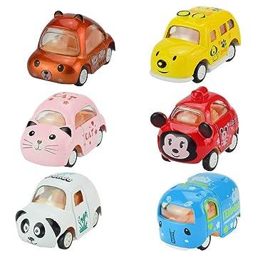 Egosy Cartoon Animales Aleación Coche Modelo Mini Coche Juguete Animales Forma Coches Busse Juguete Niños Regalo: Amazon.es: Juguetes y juegos