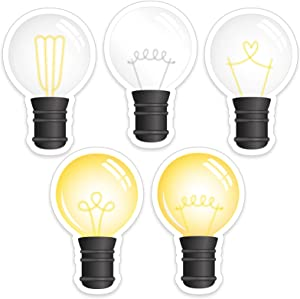 45 Pieces Industrial Chic Light Bulbs Cut-Outs Rustic Colorful Classroom Decor Cutouts with Glue Point Dots for Bulletin Board School Home Birthday Holiday Celebration Farmhouse Party
