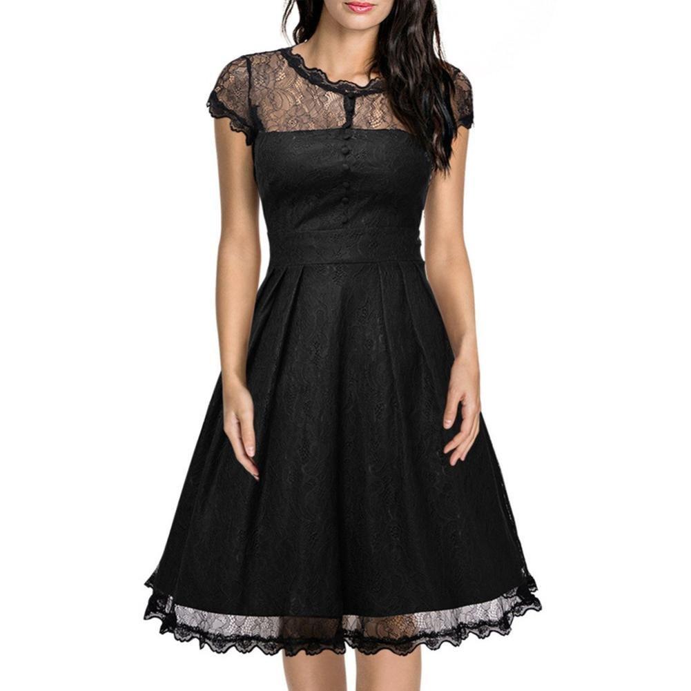 Goddessvan Women Sexy Lace Short Sleeve Backless Dress Slim Party Cocktail Plus Mini Dress (M, Black)