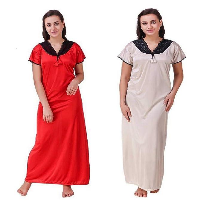 Diljeet® Women Girls Beautiful Satin Red Nighty Off-White Nighty ... 77c00d486