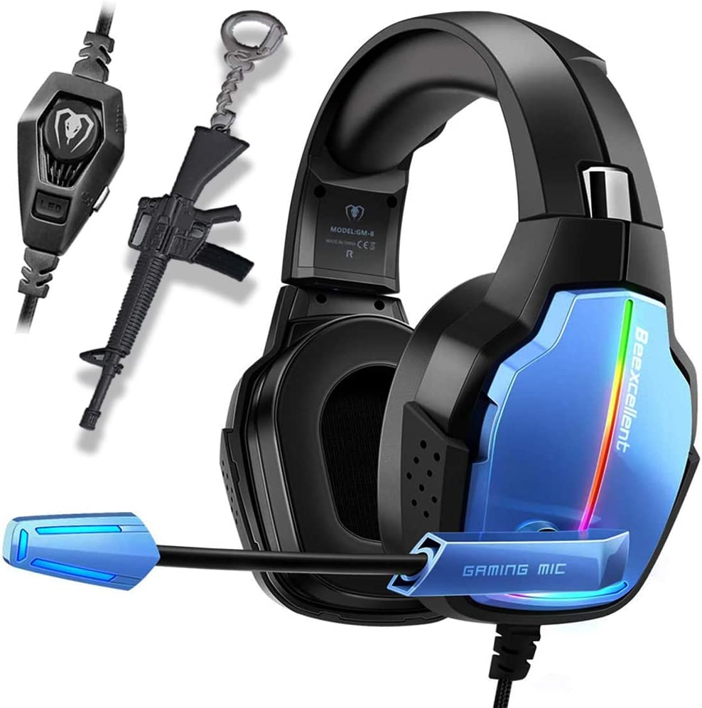 PS4 Gaming Headset Pro Gaming Headphone for Xbox one PC with Mic Stereo Surround Over-Ear Headset RGB Rainbow Light& Noise Cancelling for Laptop Tablet Mac Smart Phone (Blue)